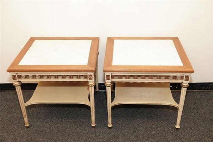 9. Pair Midcentury Louis XVI Style Side Tables