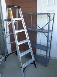 6 Foot Ladder and Metal Shelf