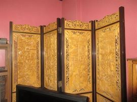4 panel carved Asian screen