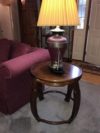 Oriental-influence style lamp table with Drexel Heritage label