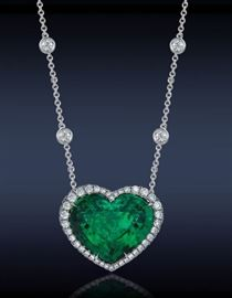 LOT 9634 Emerald Pendant with Diamonds