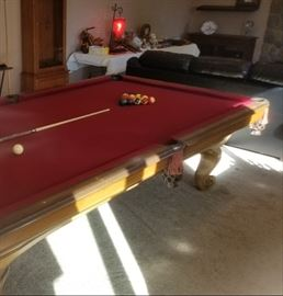 4 1/2 x 9 ft, 3 piece slate top pool table.
