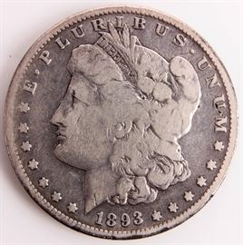 Lot 317 - Coin 1893-S Morgan Silver Dollar VG RARE!