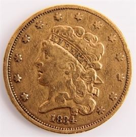 Lot 225 - Coin 1834 $5 Gold Classic Rare U.S. Gold