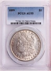 Lot 219 - Coin 1899 Morgan Silver Dollar PCGS AU55