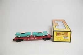 Rail King by MTH Electric Trains Santa Fe Flat Car with 2 '57 Chevys