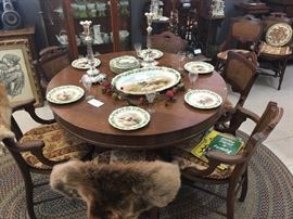 Dining tables and Eastlake chairs