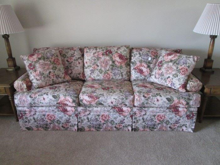 Floral Sofa, Rose/Green Colors