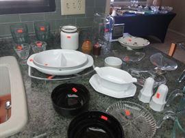 Serving Pieces, Glass, Ceramic, Corning Ware in Cradle