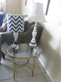 Brass/Glass Accent Table