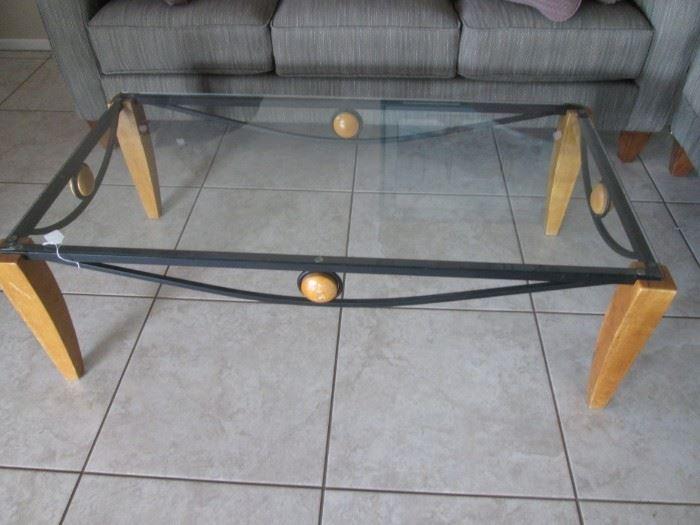 Coffee Table, Glass/Metal/Wood