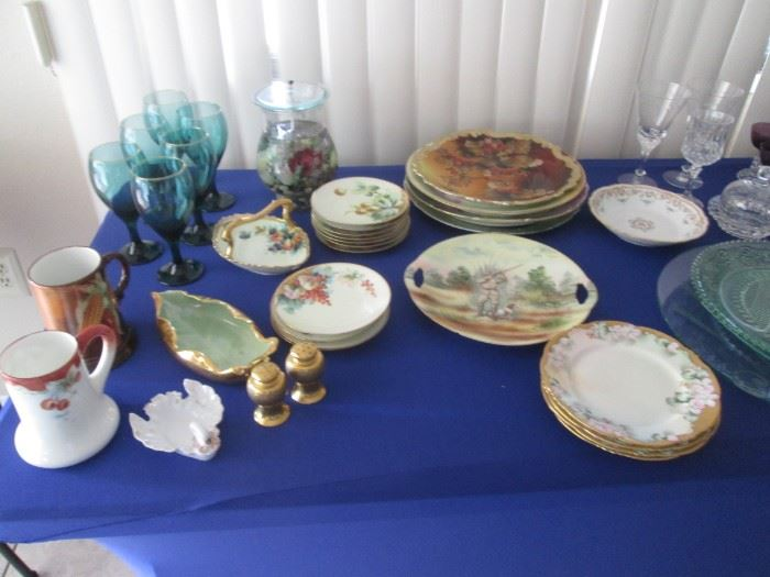 Lovely Hand-Painted Fine China, Colored Glass Stems