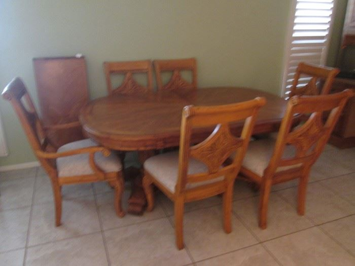 Pedestal Base, Oval Dining Room Table/6-Chairs. Carved Wood Details and Interesting Chair-Back Motif.  1-Leaf