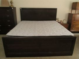 King Bed Unit by Broyhill with Headboard, Footboard and Side Rails.  ALSO King Mattress Set, sold separately!