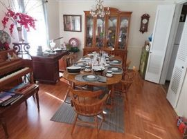 Maple dining room table and chairs, china cabinet