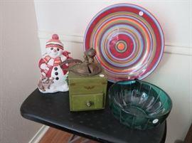 Fitz & Floyd snowman cookie jar, antique coffee grinder.