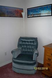 Blue Swivel Rocker Chair