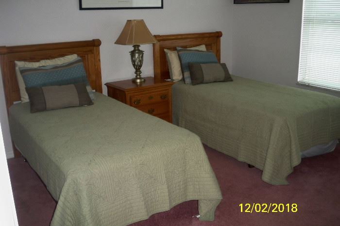 2 - Twin Bed(s); 2 Drawer Night Stand