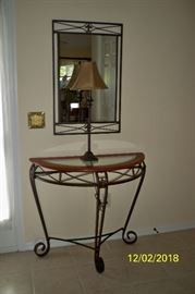 Metal, Wood and Glass Demilune Entry Table with Metal framed Mirror; Table Lamp