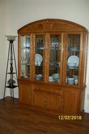 Arcese Brothers Furniture LTD Lighted China Hutch; Floor Lamp Curio Tower; Noritake China Dinnerware.