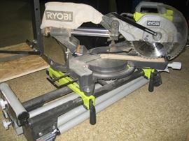 "Ryobi - 10"" Sliding Compound Miter Saw - Laser - Folding Stand - Model TSS102L"