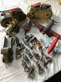 Lead soldiers, Marx tin Army toys, Hubley airplanes