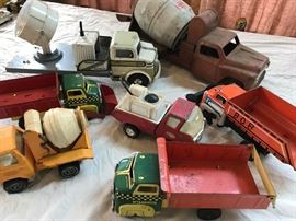 Vintage toy trucks, Tin litho and pressed steel