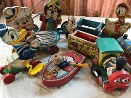 Early vintage Fisher Price wooden toys