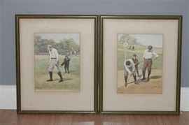 10. Set of Two 2 A. B. FROST Golf Prints