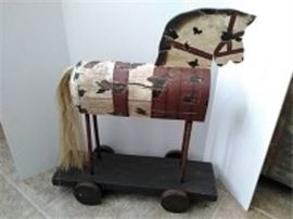 Folk Art Wheeled Horse