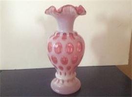 Fenton Cranberry Coin Dot Vase
