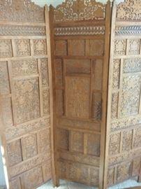 02 Vintage 3 Panel Carved Teak Wood