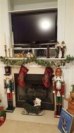 42 inch Sharp Flatscreen, Large Nutcrackers, Christmas decor
