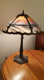 Art Nouveau Lamp, bronze base Reverse Painted Glass shade