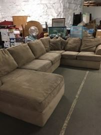 Beige Tan Sectional Sofa with Chaise Lounge