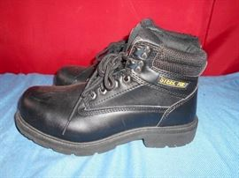 Black Steel Toed Lace Up Boots Like New See Pics