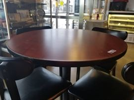 Pub Height Pedestal Table and Four Padded Chairs.