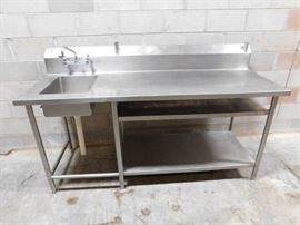 5 Foot Stainless Steel Table with Built in Sink