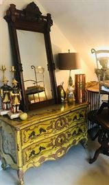 new orleans large low chest with an eastlake mirror, mandarin lamps pair