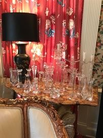 Glass and crystal candlestick collection