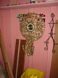Vintage Welby 8 day wind-up clock- Art Deco Clock and wall sconces