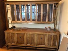 Mid Century Modern Metz Burled Wood & Brass Breakfront / Server