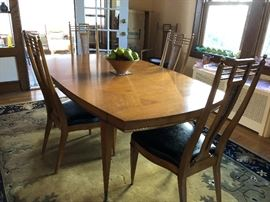 Mid Century Modern Metz Dining Room Table w/ 2 Leaves & 6 Chairs