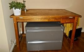 ANTIQUE DRAFTING TABLE, LATERAL FILE CABINET