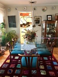Eclectic furnishings - vintage glass top dining table & chairs