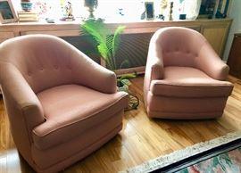 Pair vintage swivel barrel chairs