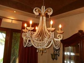 Beaded swag sold cut crystal chandelier 4ft
