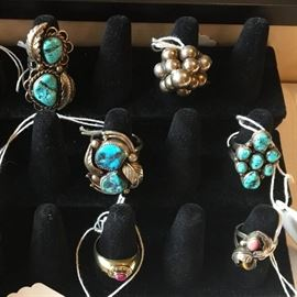 Southwest Jewelry including Sterling & Turquoise Rings