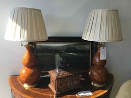 Christopher Spitzmiller Lamps, Black Forest Humidor and English Sheep Landscape Painting