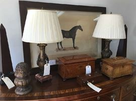 LR Layfette Horse on Handmade Parchment, English Tea Boxes and Bronze/Marble Lamps